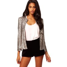 2019 Spring Autumn Women Sequin Silver Shiny Jacket Casual Loose Long Sleeve