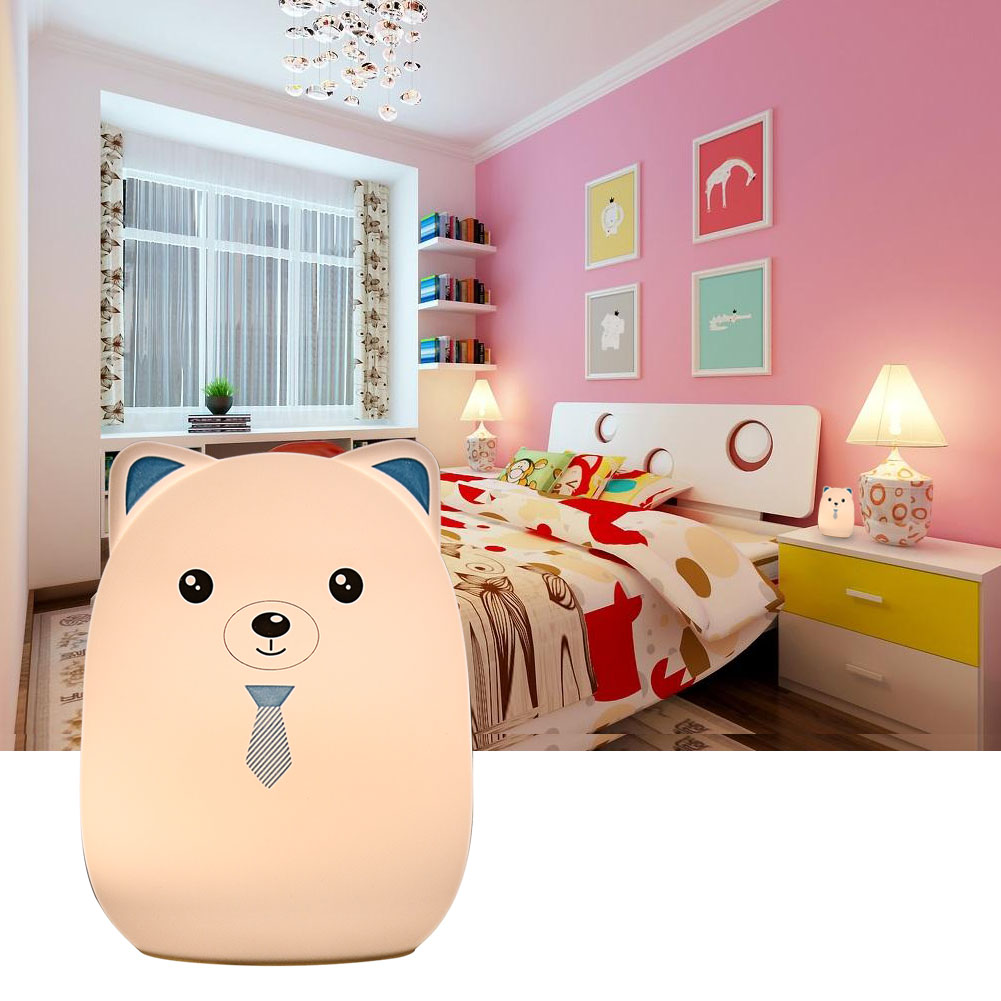 Color Changing Cute Silicone Cartoon Bear Night Light Toys