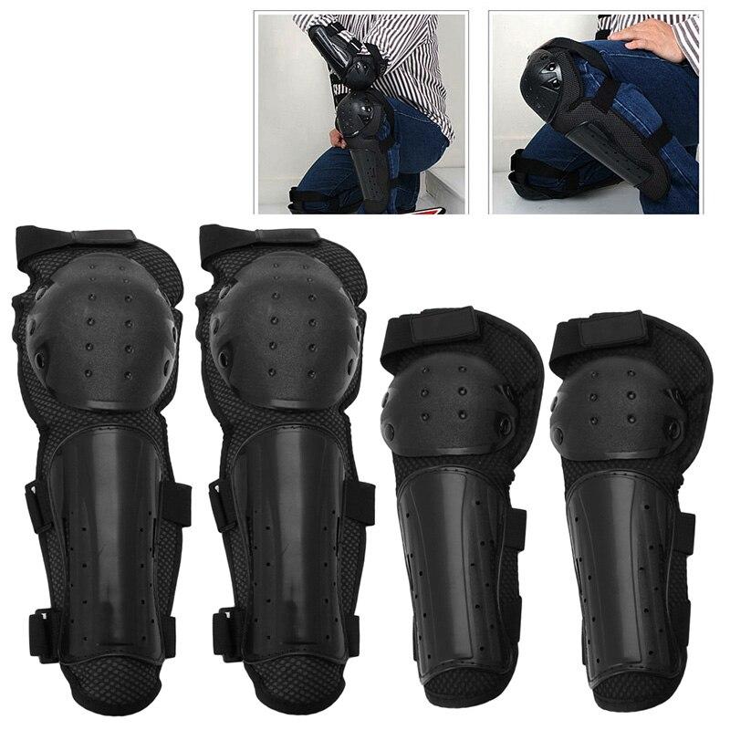 Prix pour 4 Pcs Support Genou Moto Genou Protecteur Réglable Ceinture Brace Protection Coude Pad Genouillère Gym Sport Accessoires