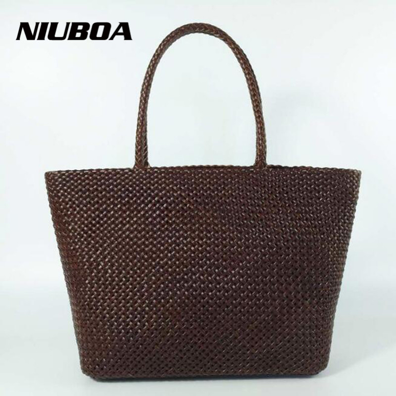 NIUBOA Women Fashion Handbags High Quality Genuine Leather Bag Large Capacity Woven Lattice Shoulder bag Wild Leisure Female bag niuboa bag female women s 100