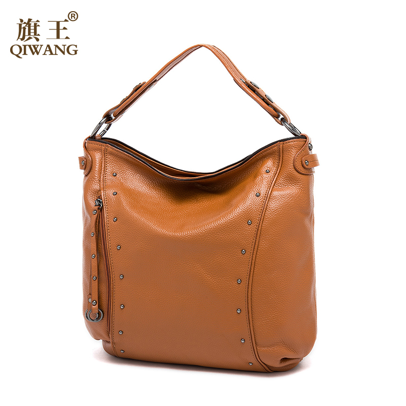 Qiwang Women Hobo Bags Genuine Leather Bags Ladies Real Leather Bags Women Casual Handbags Hollywood Series Fashion Bag