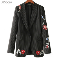 NATOODA 2018 Fashion Vintage Women Striped Floral Embroidery Blazer England Style Long Sleeve Casual Office Women