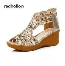 цена на Fashion Women Sandals Wedges Bling 6cm High Heels Crystal Gladiator Sandals Summer Women Shoes Leather Sandalia Mujer Plus Size