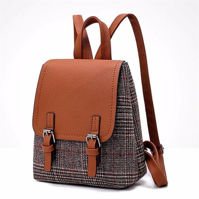 a7fecc6b62 Teenager Girls Schoolbag British Casual Preppy Style Women Backpacks Simple  Designer Pu Wool Packs Female Laptop