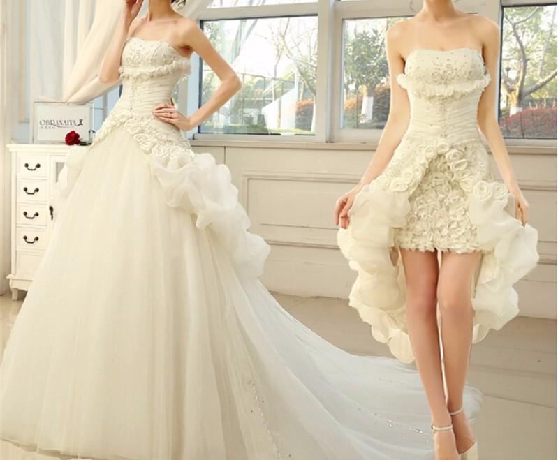 Two Piece Princess Wedding Dress 2019 Short Front Long