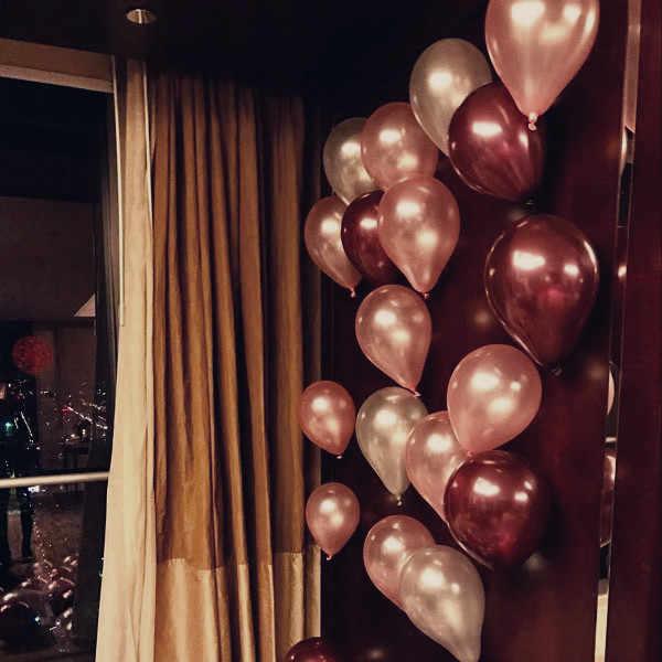 10 polegadas Pérola balão ballon vermelho vinho e prata Clara Base De Balão de Aniversário de Casamento Balões De Plástico Stand Bachelor party Decor