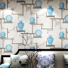 New Chinese classical wallpaper living room study teahouse TV background wall vintage blue and white porcelain
