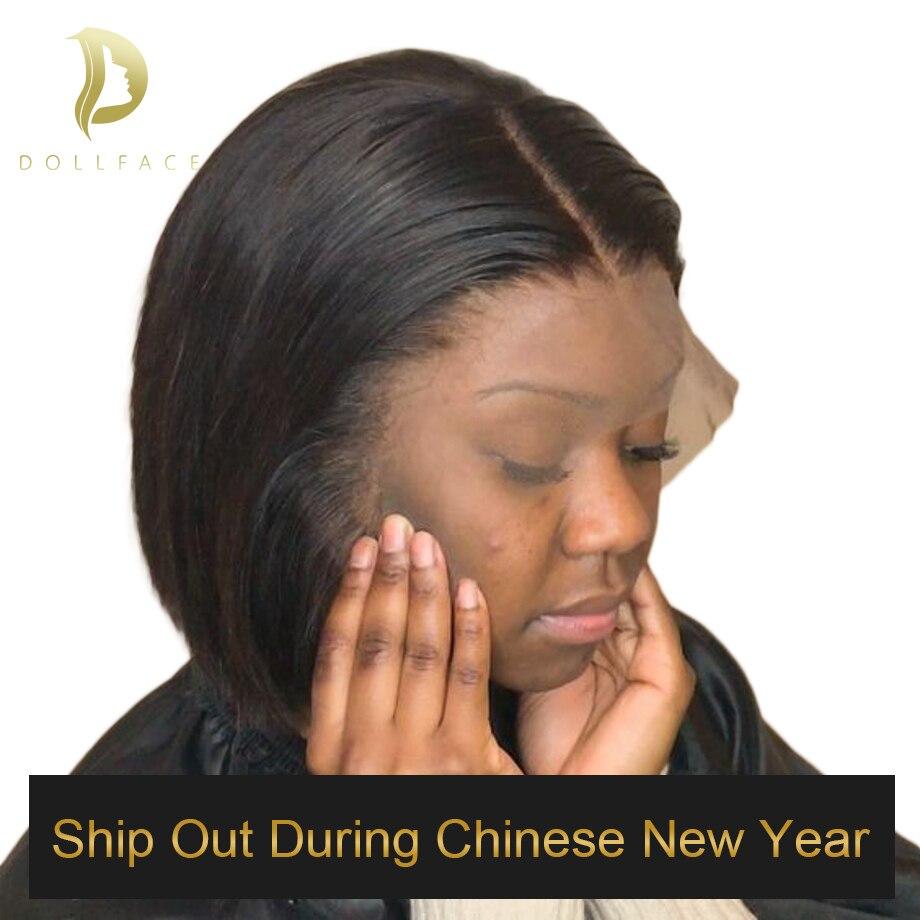 Kurze Spitze Front Menschliches Haar Perücken Bob Perücke Voll und Dick Für Schwarze Frauen Natürliche Farbe Brasilianische Remy Haar Freies verschiffen Dollface
