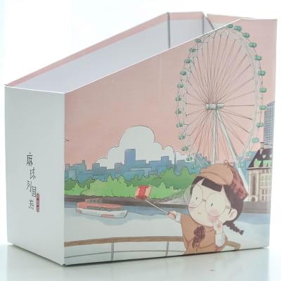 DIY Бумага приемная коробка файл лоток журнал Органайзер книжные полки получение рамки подачи продуктов ovely маленькая девочка шаблон - Цвет: pink