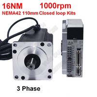 NEMA42 110mm 16Nm 2300Oz in 1000RPM 19MM Hybird Closed Loop Stepper 220V 3PH Motor Drive Kit Easy Servo for CNC Engraving Router