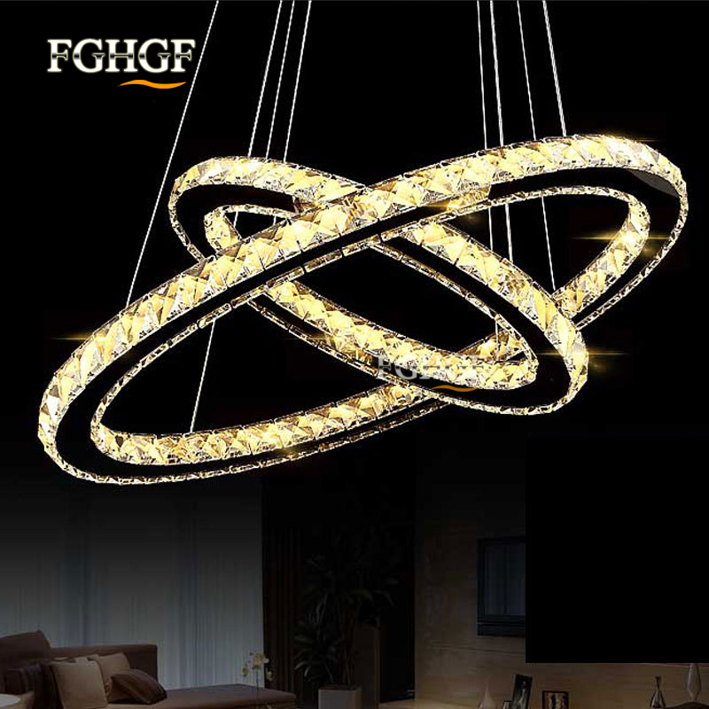 Modern LED Chandelier Lights Oval Shape Circle Lamp For Dining Room suspension luminaire Lustres Chandeliers Lighting Fixtures modern crystal chandelier led hanging lighting european style glass chandeliers light for living dining room restaurant decor