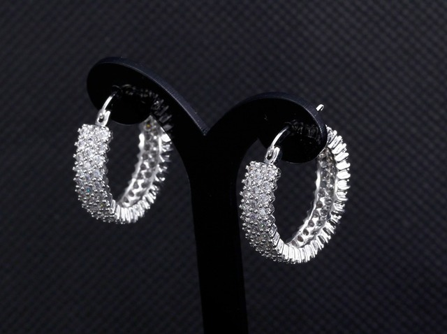 Sweet Look Luxury Hoop Earrings Made with AAA Cubic Zirconia Platinum Plated Free Allergy Lead Free