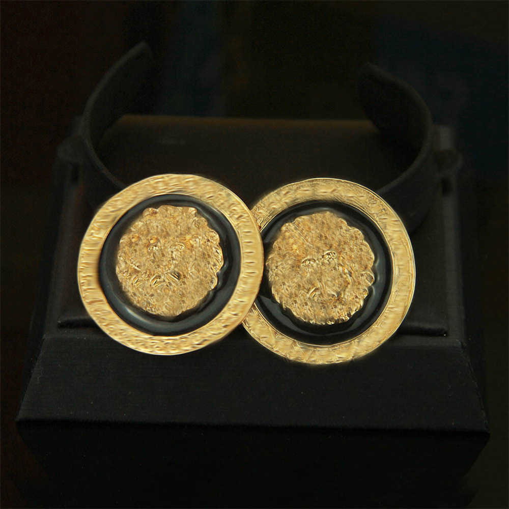 Модные золотые серьги голова льва себе черный Серьги Pendientes de кабеса-де-5 len дамы ночной клуб рождения ювелирные изделия S079