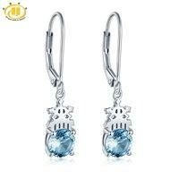 Hutang Authentic 925 Sterling Silver Dangle Earrings Genuine Blue Topaz Gemstone Fine Jewelry Snow Flower Design