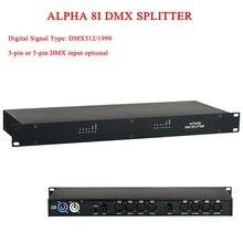 2019 New HOT sprzedaż alfa 8I rozgałęźnik DMX DMX512 światła światła sceniczne wzmacniacz sygnału Splitter 3 pin lub 5 pin DMX wejście opcjonalne