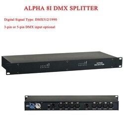 2019 nueva gran oferta ALPHA 8I DMX divisor DMX512 luces de escenario divisor de amplificador de señal 3 pines o 5 pines DMX entrada opcional