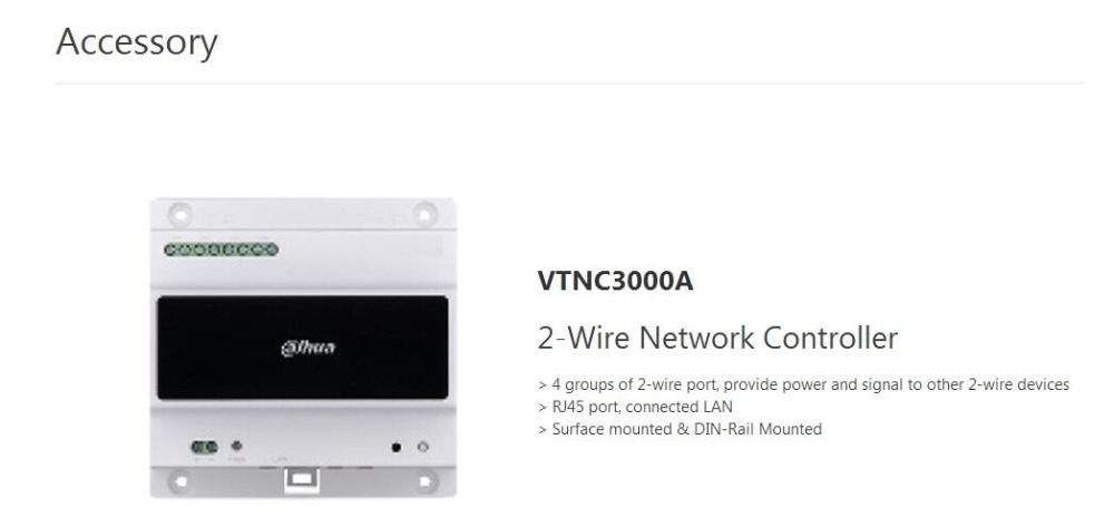 Free Shipping DAHUA Door Intercom Accessory 2-Wire Network Controller Without Logo VTNC3000A