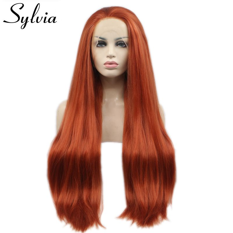 Sylvia Long Yaki Straight Hair #360 Color Orange Synthetic Lace Front Wig For Women African Heat Resistant Fiber Hair Free Part