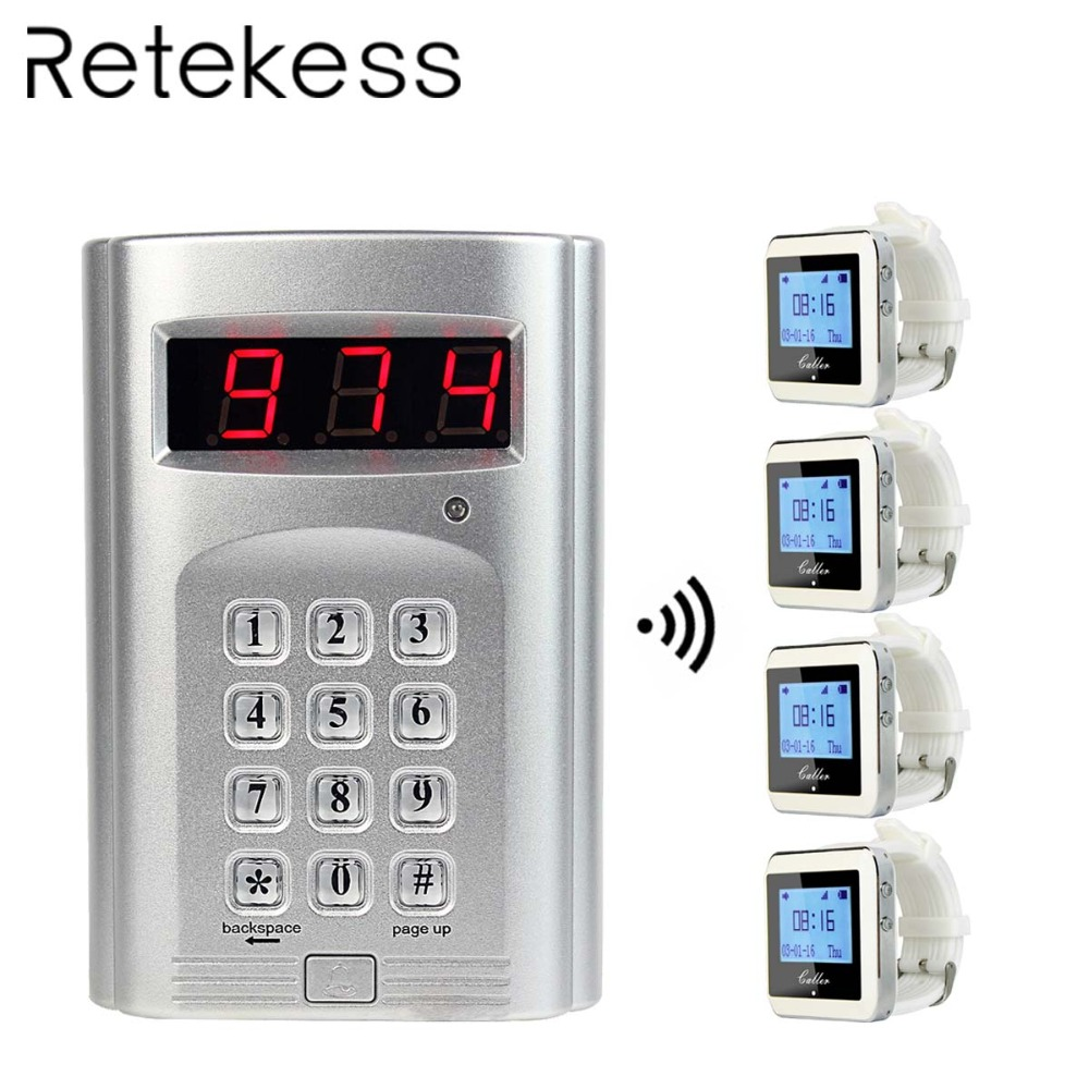 Wireless Calling System Restaurant Pager For Kitchen with 1 Keyboard Transmitter 4 Watch Receiver Pager 433MHz