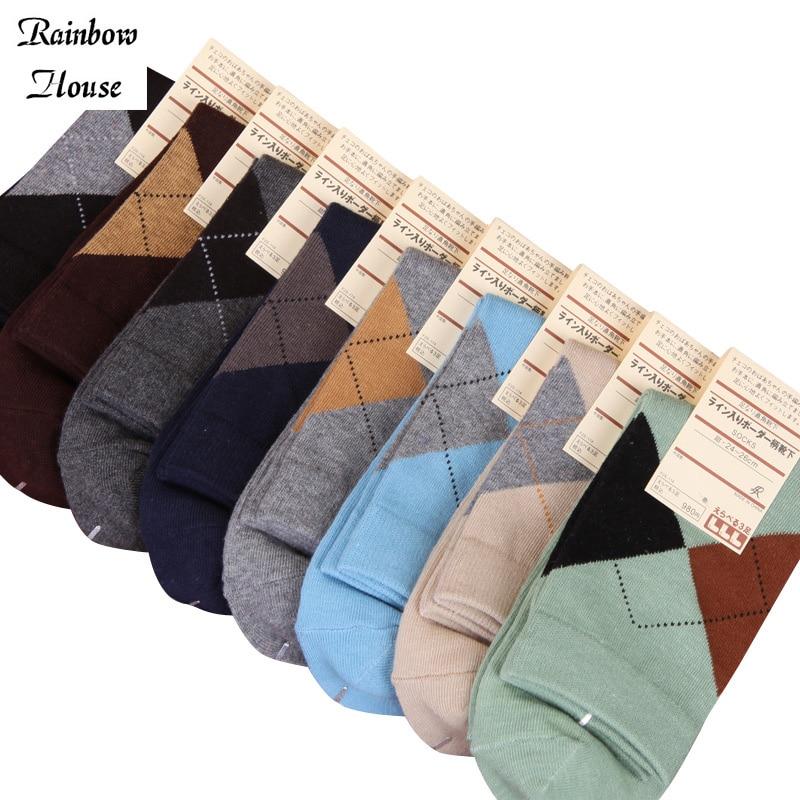 New 2017 Fashion Classic Socks Men Diamond Socks Colorful Men Casual All-Match Business Men Socks 12pcs=6pairs/lot