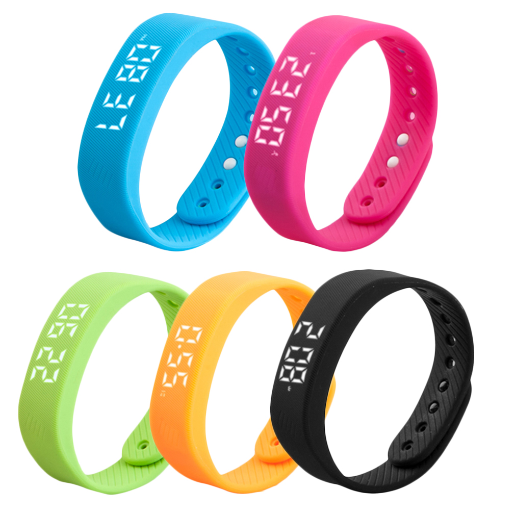 3D T5 LED Display Sports Gauge Fitness Bracelet Smart Step Tracker Pedometer 5 colors new arrival