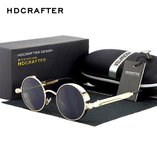 21620bac2ee03 Hdcrafter mulheres design retro clássico steampunk óculos redondos óculos  de sol do vintage oculos de sol