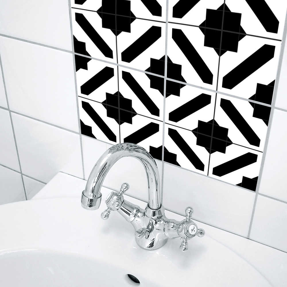 Funlife 15*15 cm/20*20 cm zelfklevende Muur Art Behang Meubels DIY Zwart en Wit marokkaanse Tegels Sticker Muurtattoo