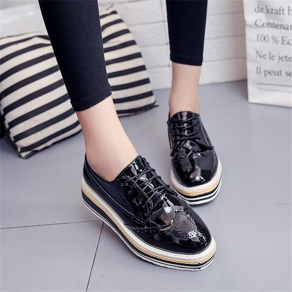 Women Outdoor Leather Casual Sports Shoes Lace-Up Thick-Soled Increase Shoes italian shoe and bag set for party in women blue #8 3