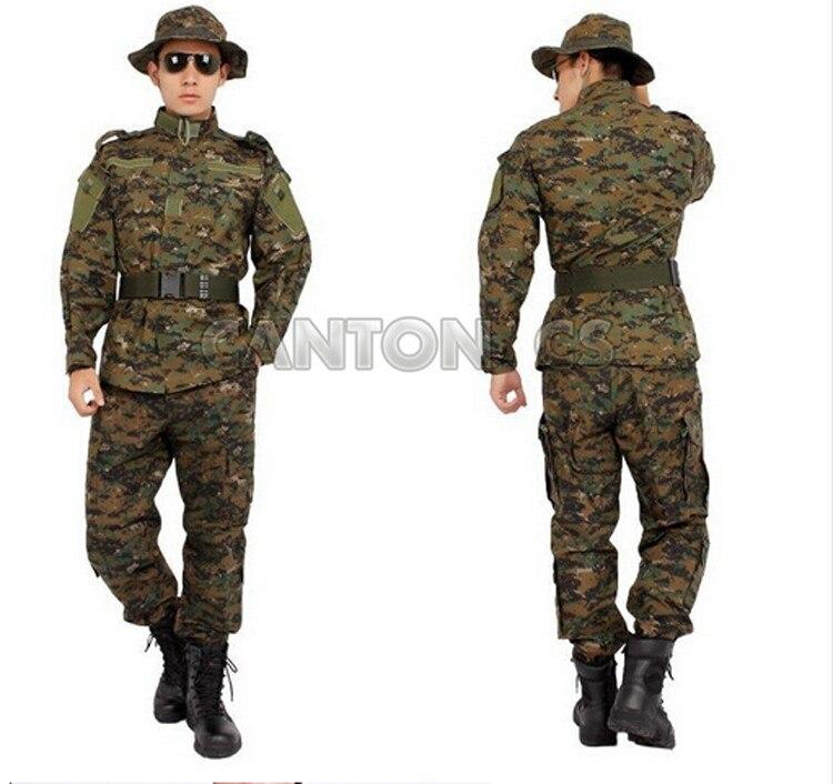 Uniforme tactique de l'armée américaine costume de Camouflage boisé uniforme de Combat militaire ensemble chemise + pantalon vêtements de chasse en plein air vêtements hommes - 3