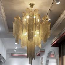 Post-modern LED Chandeliers Nordic Designer Engineering Luxury Chain Tassel Aluminum Decor Hinging Lamp Lighting Luminaire