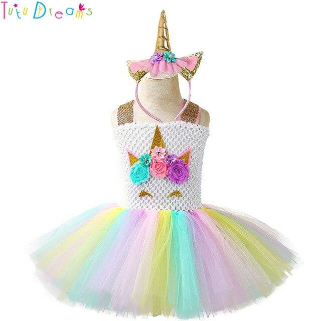 cc2b89b4f Pageant Unicorn Tutu Dress and Headband Kids Girl Flowers Birthday Party Dresses  Children Halloween Christmas Costume Outfit