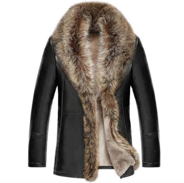 The real Raccoon Fur Collar Men s Genuine Leather Winter Jacket Sheep Wool inside warm Men