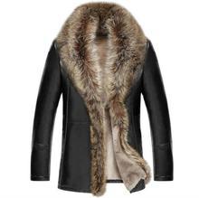 Мужская зимняя куртка с воротником из натурального меха енота, из натуральной кожи, с подкладкой из овечьей шерсти, теплое Мужское пальто EMS качества