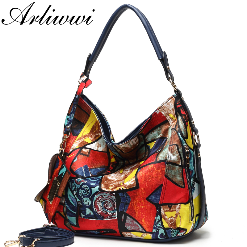 Arliwwi High Quality Totem Image Nylon Bags Women 2019 New Fashion Big Ladies Featured Elegant Crossbody Handbag