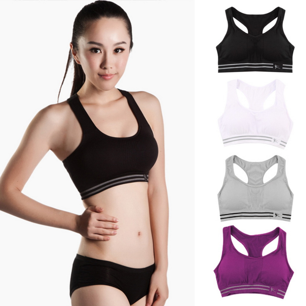 Hot Summer Style Women Cotton Stretch Athletic Vest Gym Fitness Sports Bra No Rims Full Cup Padded Bras Colorful Plus Size Tops