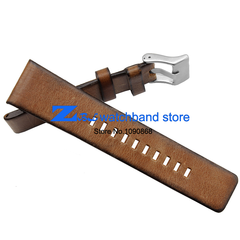 Genuine Leather bracelet  strap Brown Vintage watchband 24mm accessories Wrist watch band Soft and comfortable wristwatches band high quality genuine leather watchband 22mm brown black wrist watch band strap wristwatches stitched belt folding clasp men