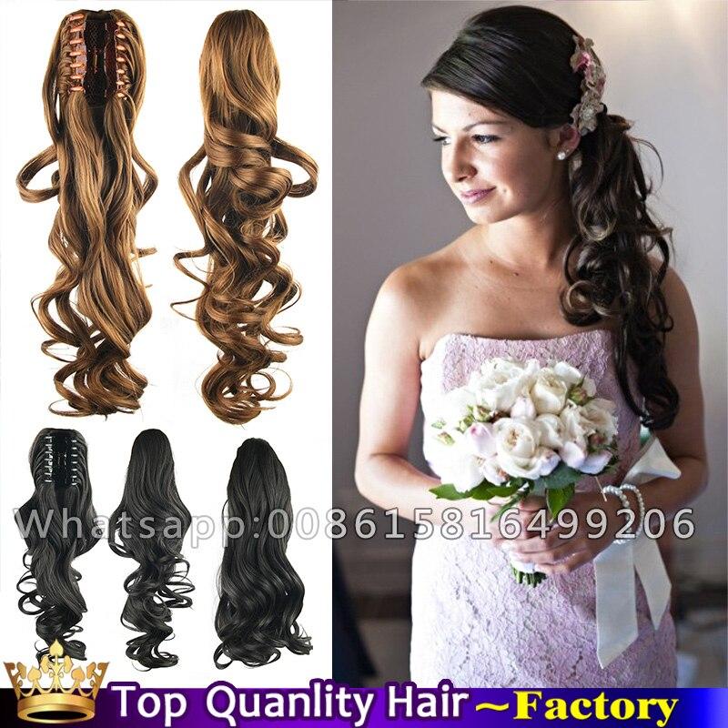 Claw Clip Curly Side Ponytail Wedding Bride Hair Bridal