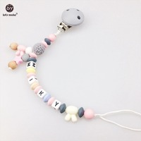 Let S Make Baby Nursing Teething Accessory Rabbit Abacus Beads Round Pacifier Clip Chew Silicone Beads