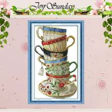 Elegant Coffee Cup Counted Cross Stitch 11CT Printed 14CT Cross Stitch Sets Chinese Cross-stitch Kits for Embroidery Needlework(China)