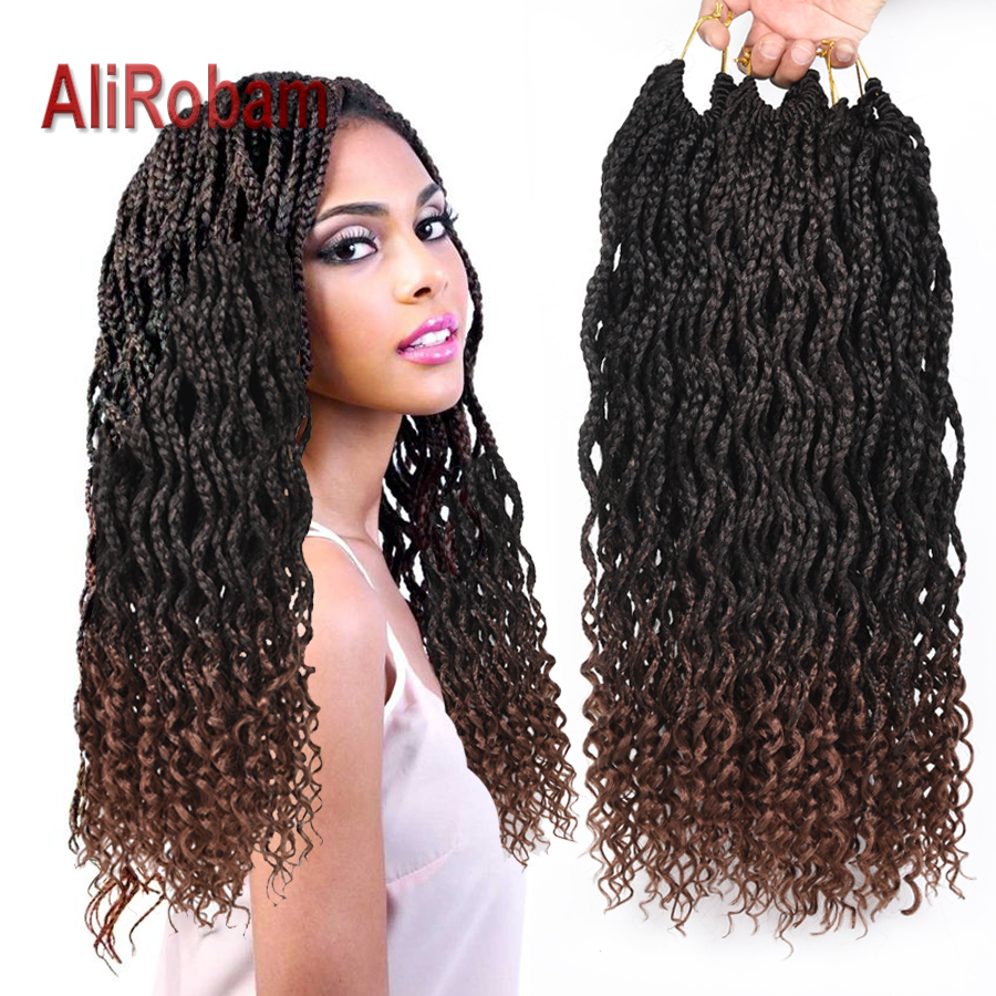 Alirobam Curly End Box Braid Ombre Brown Or Burgundy