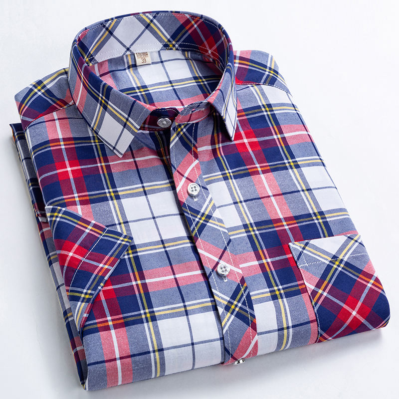 Checkered shirts for men Summer short sleeved leisure slim fit Plaid Shirt square collar soft causal male tops with front pocket 2