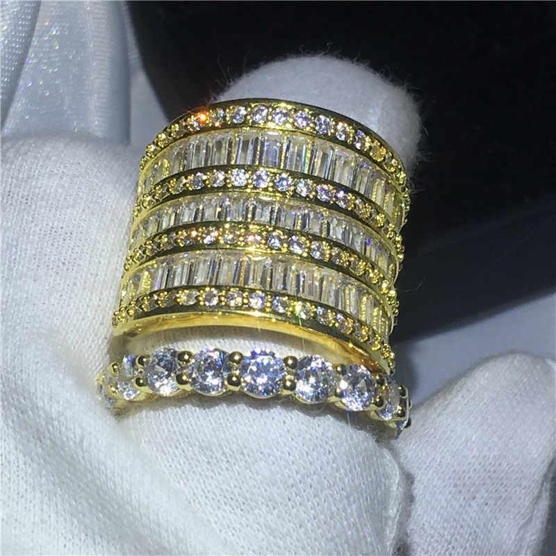 Choucong набор больших колец ручной работы, желтое золото, заполненное 925 серебро, обручальное кольцо, кольца для женщин, прозрачное AAAAA циркониевое ювелирное изделие