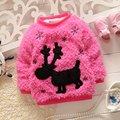 Теплая зима Aniaml олень снежинка ребенок флис бархатной трикотаж дети девочки свитер утолщаются пиджаки пуловер топы S2126