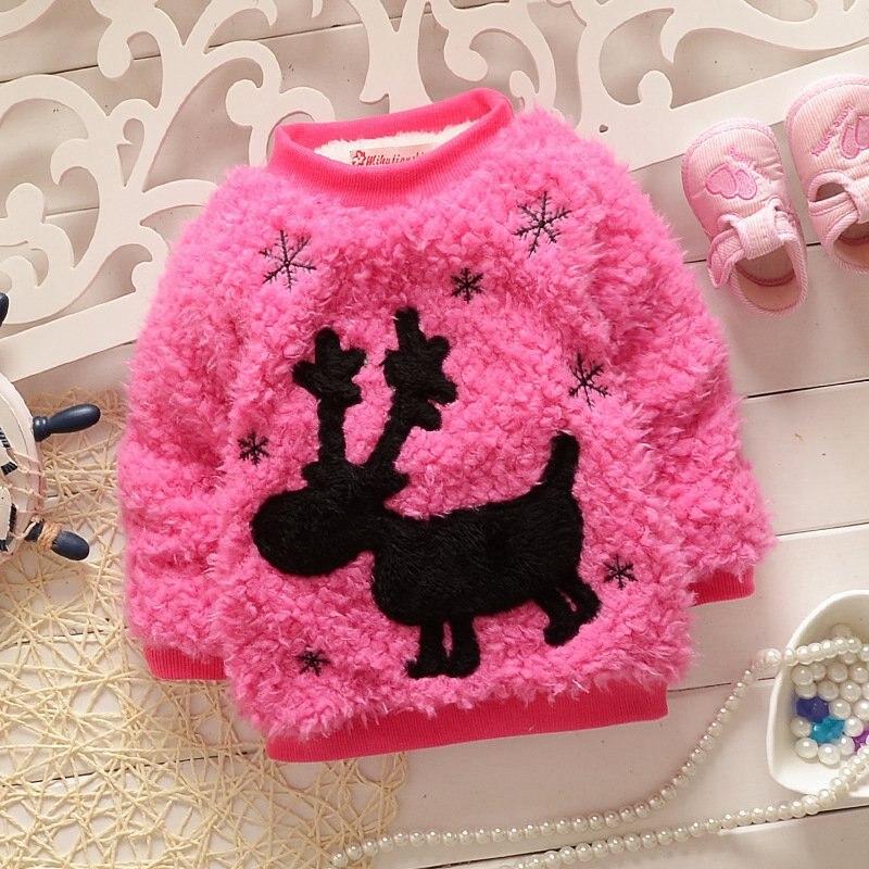 Warm Winter Aniaml Deer Snowflake Baby Fleece Velvet Knitwear Kids Girls Sweater Thicken Outwear Pullover Tops