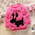 Warm Winter Aniaml Deer Snowflake Baby Fleece Velvet Knitwear Kids Girls Sweater Thicken Outwear Pullover Tops S2126
