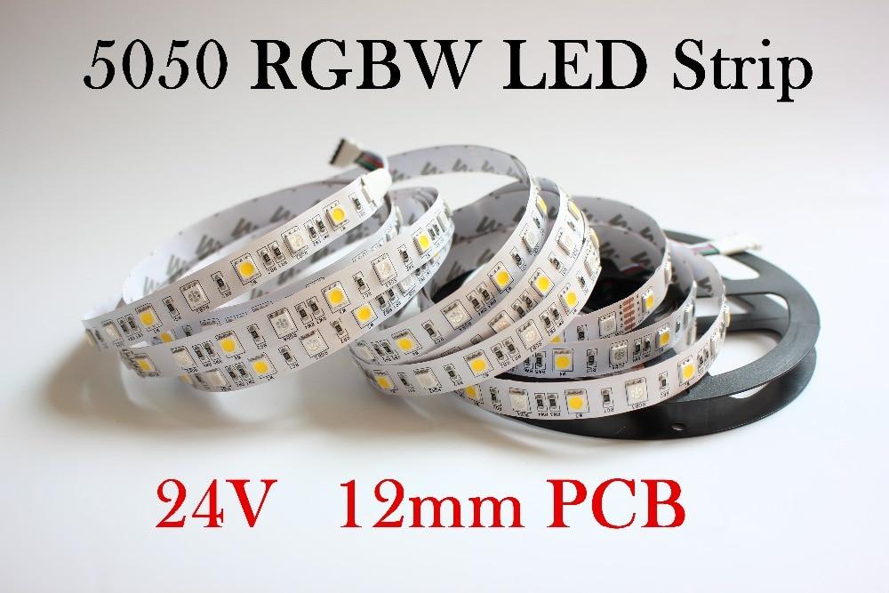 5M/LOT Led Strip Light 5050 DC24V RGBW  SMD 12mm PCB 5M 60leds/m Led Flexible Tape Rope Stripe Light RGBWW RGB Warm White Newest