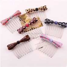 Women Girls Hair Ornaments Fresh Ftyle Leopard Bow Hairpins Hair Combs Hair Accessories Fashion Jewelry