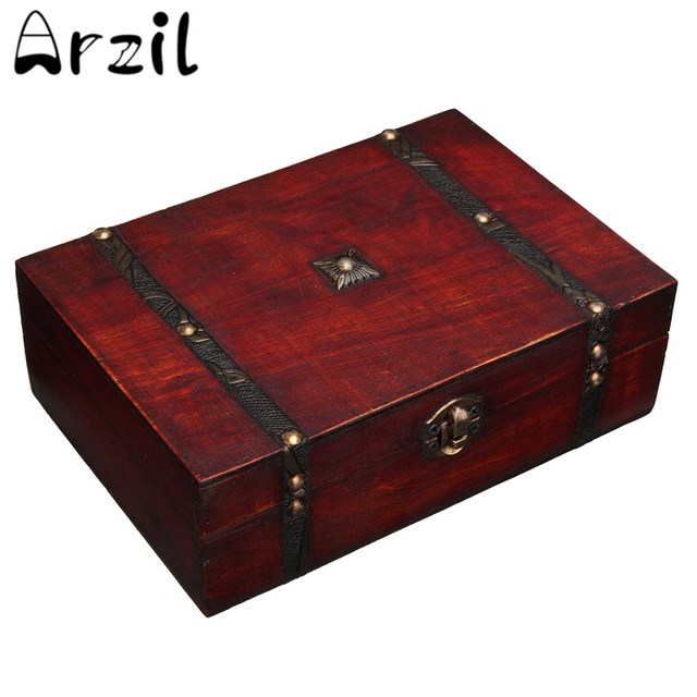 Wooden Box New Retro Lock Storage Box Jewelry Box Beautiful Storage Box  Photography Props Gifts Cases