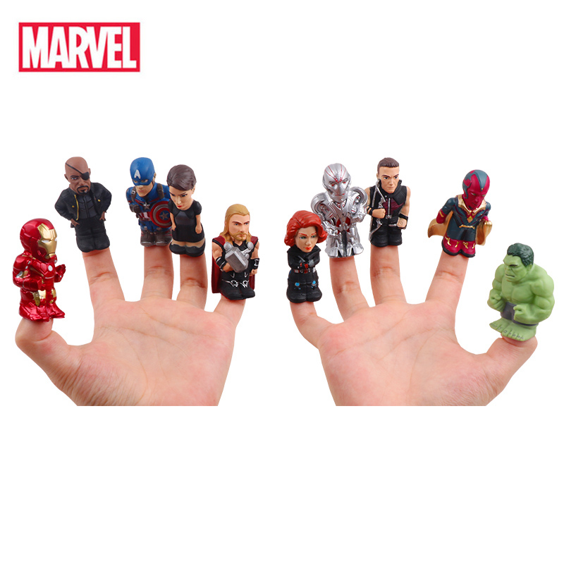 10pcs/Set Marvel The Avengers Super Heroes Thor Iron Man Hulk America Captain Action Figure Finger Puppet For Christmas Gifts