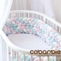 220 см длина, увеличивающая рост, Детские плетеные бортики для кроватки, 4 полосы, узел, длинная подушка, детские подушки, детская кроватка